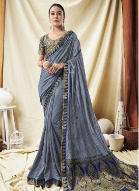Embroidered Work Jacquard Silk Blue and Grey Classic Saree