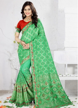 Embroidered Work Jacquard Silk Classic Saree For Festival