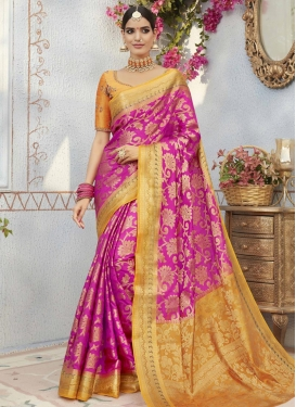 Embroidered Work Jacquard Silk Contemporary Saree