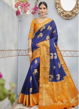 Embroidered Work Jacquard Silk Contemporary Style Saree