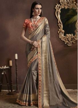 Embroidered Work Jacquard Silk Designer Contemporary Saree