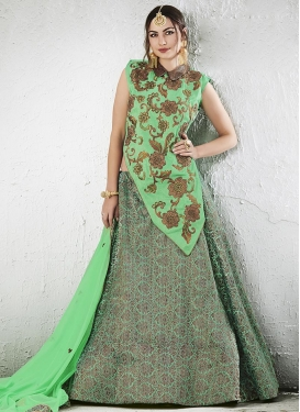 Embroidered Work Jacquard Silk Designer Long Choli Lehenga