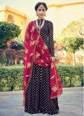 Embroidered Work Jacquard Silk Floor Length Salwar Kameez