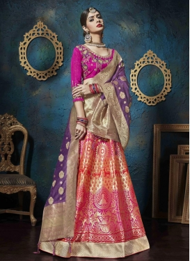 Embroidered Work Jacquard Silk Fuchsia and Purple Trendy Lehenga Choli