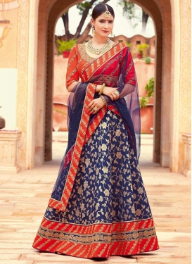 Embroidered Work Jacquard Silk Navy Blue and Tomato Designer A Line Lehenga Choli