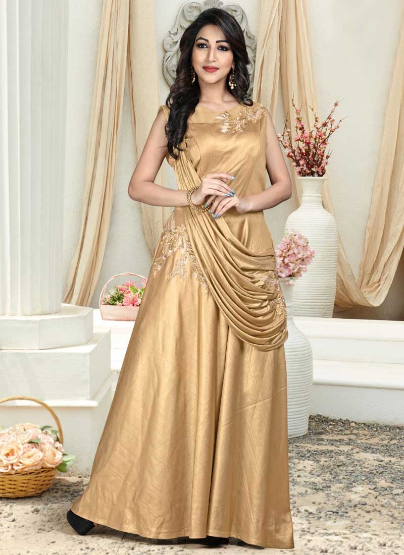 Embroidered Work Jacquard Silk Readymade Floor Length Gown