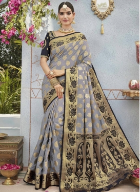 Embroidered Work Jacquard Silk Trendy Classic Saree For Festival
