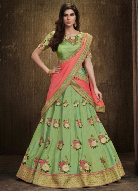 Embroidered Work Khadi Silk A Line Lehenga Choli