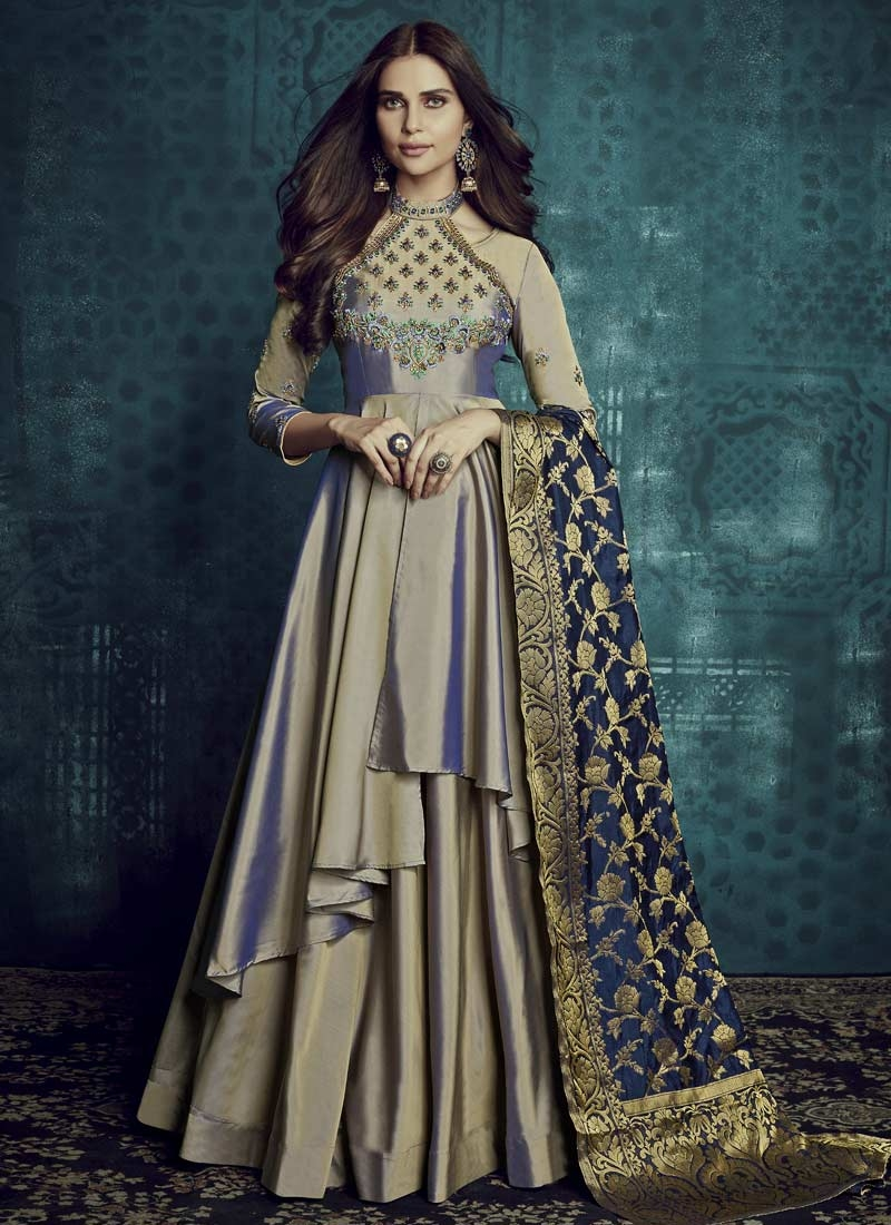 Embroidered Work Layered Designer Gown