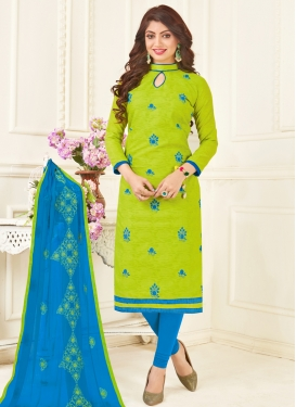 Embroidered Work Light Blue and Mint Green Churidar Suit