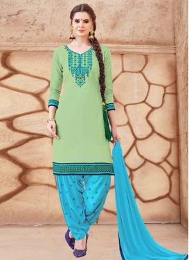 Embroidered Work Light Blue and Mint Green Designer Patiala Salwar Suit