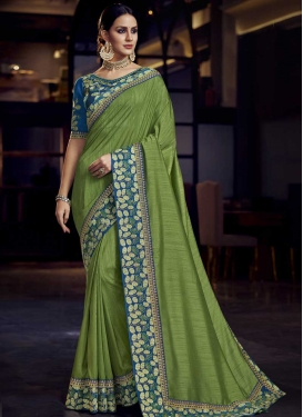 Embroidered Work Light Blue and Olive Designer Traditional Saree