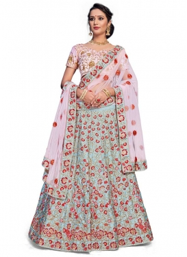 Embroidered Work Light Blue and Pink Lehenga Choli