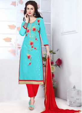 Embroidered Work Light Blue and Red Pant Style Salwar Kameez
