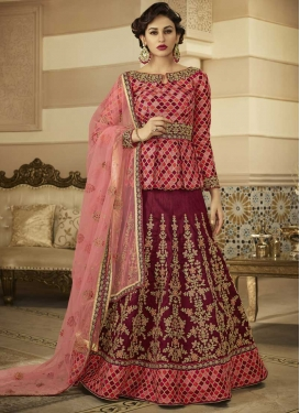 Embroidered Work Long Choli Lehenga For Festival