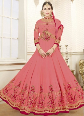 Embroidered Work Long Length Anarkali Salwar Suit For Festival