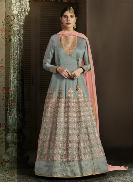 Embroidered Work Long Length Anarkali Suit For Festival