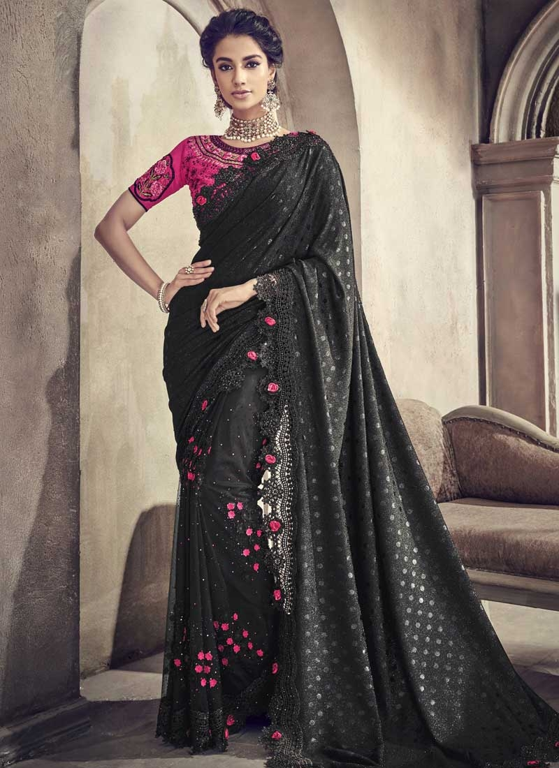 Embroidered Work Lycra Designer Contemporary Style Saree