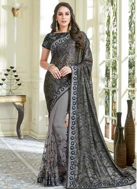 Embroidered Work Lycra Half N Half Designer Saree For Ceremonial