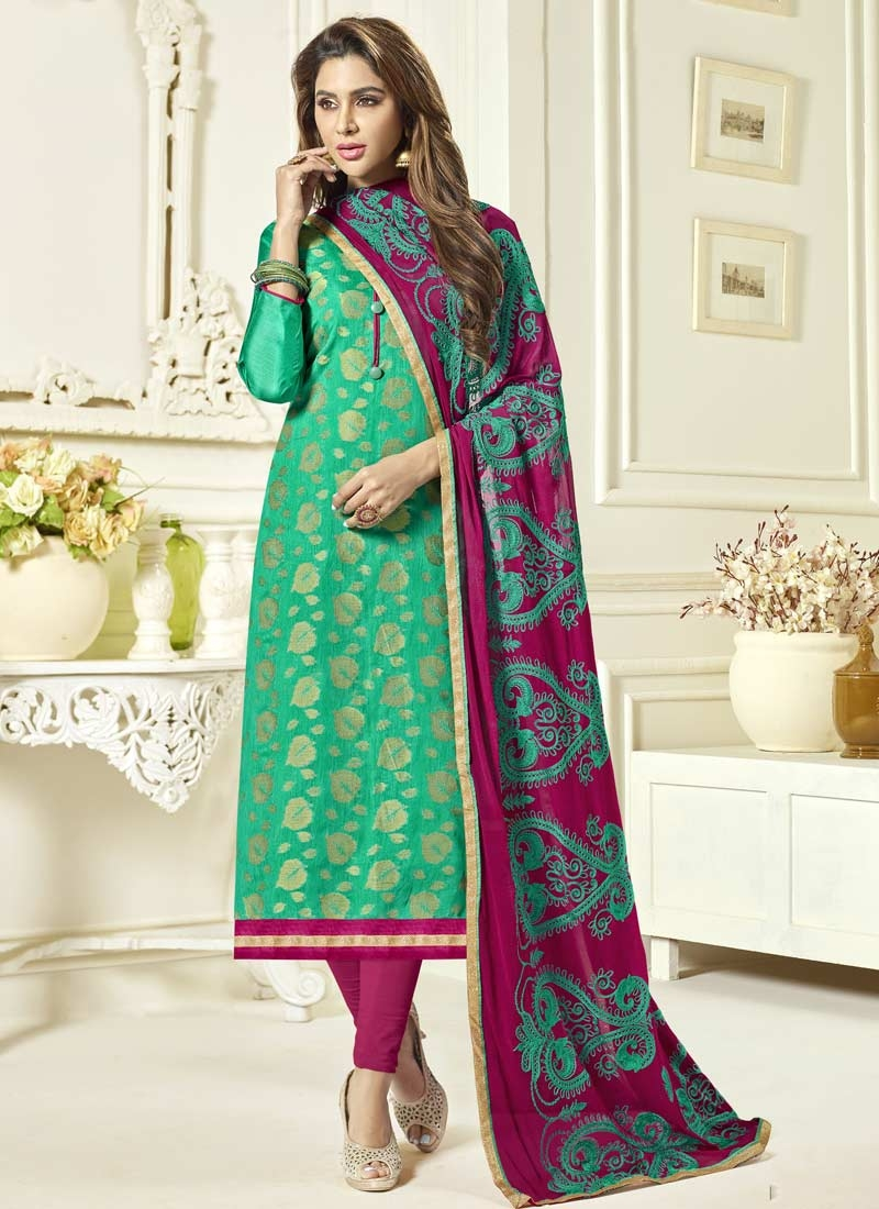 47a6578354d72 Embroidered Work Magenta and Sea Green Jacquard Silk Long Length Trendy  Pakistani Suit