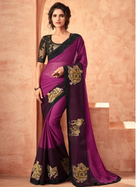 Embroidered Work Magenta and Wine Classic Designer Saree