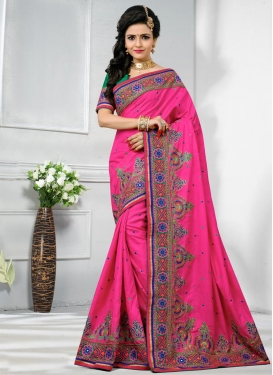 Embroidered Work Manipuri Silk Trendy Classic Saree
