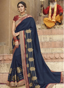 Embroidered Work Maroon and Navy Blue Designer Contemporary Saree