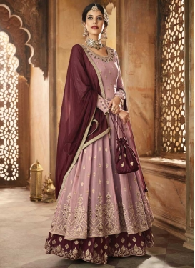 Embroidered Work Maroon and Pink Designer Palazzo Salwar Kameez