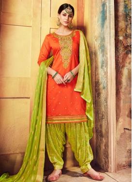 Embroidered Work Mint Green and Orange Patiala Salwar Kameez