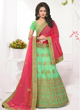 Embroidered Work Mint Green and Rose Pink A - Line Lehenga
