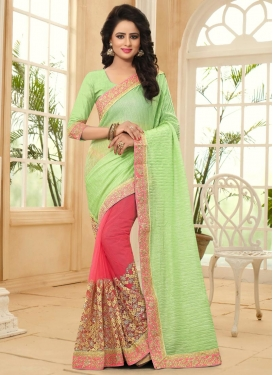 Embroidered Work Mint Green and Rose Pink Half N Half Trendy Saree