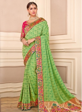 Embroidered Work Mint Green and Rose Pink Trendy Classic Saree