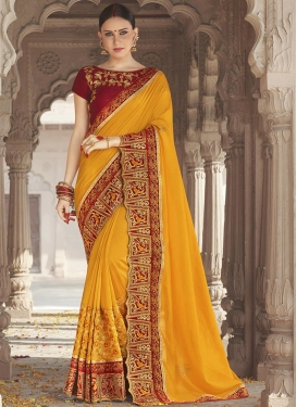 Embroidered Work Mustard and Red Classic Saree
