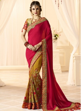 Embroidered Work Mustard and Red  Half N Half Saree