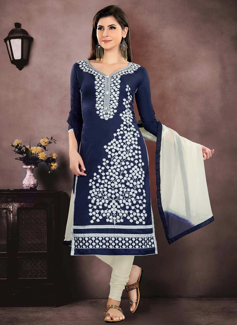Embroidered Work Navy Blue and Off White Chanderi Cotton Trendy Churidar Salwar Kameez