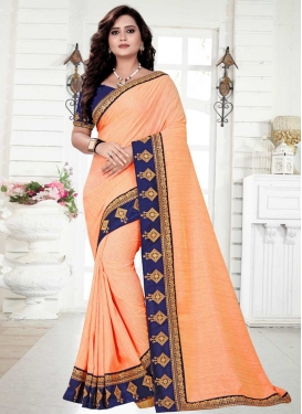 Embroidered Work Navy Blue and Peach Traditional Saree