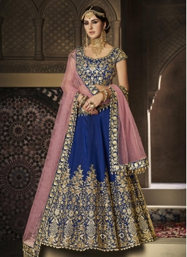 Embroidered Work Navy Blue and Pink A - Line Lehenga