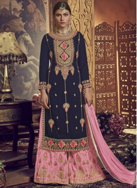 Embroidered Work Navy Blue and Pink Palazzo Straight Salwar Kameez