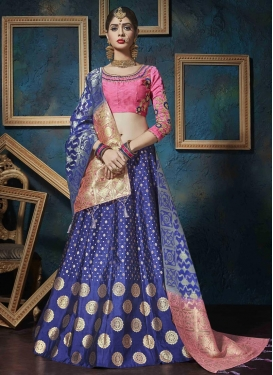 Embroidered Work Navy Blue and Pink Trendy A Line Lehenga Choli