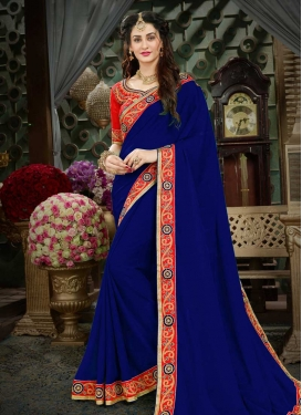 Embroidered Work Navy Blue and Red Contemporary Style Saree