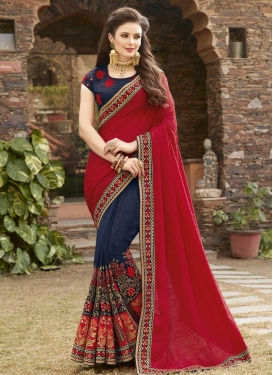 Embroidered Work Navy Blue and Red Half N Half Saree