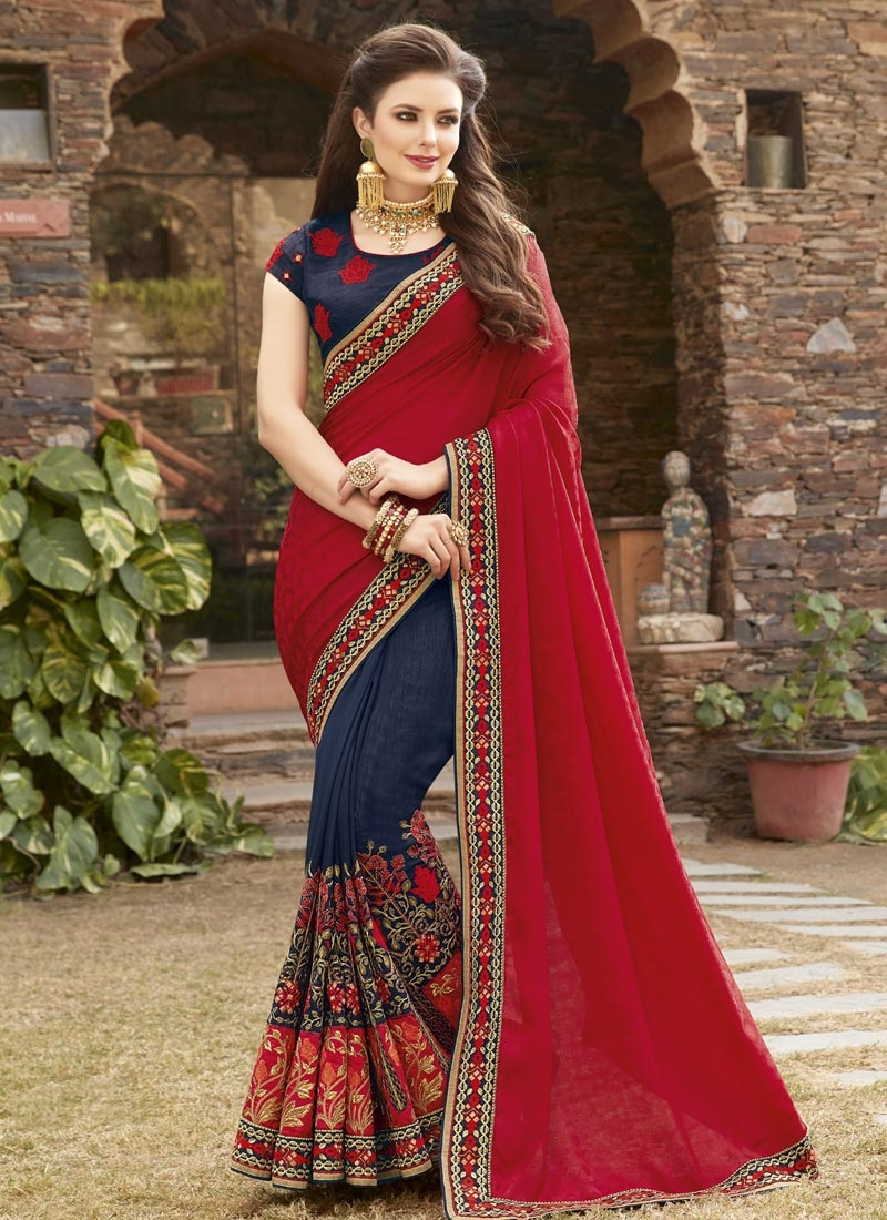 6939a49f70d Buy Embroidered Work Navy Blue and Red Half N Half Saree Online