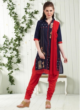 Embroidered Work Navy Blue and Red Trendy Punjabi Churidar Suit