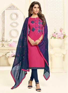 Embroidered Work Navy Blue and Rose Pink Cotton Trendy Churidar Salwar Suit