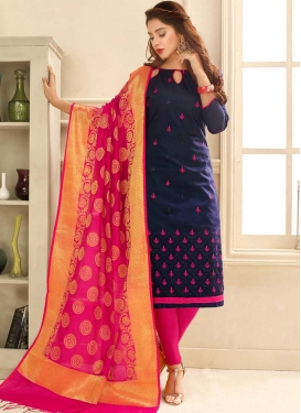 Embroidered Work Navy Blue and Rose Pink Cotton Trendy Churidar Suit