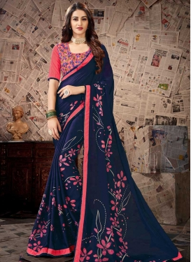 Embroidered Work Navy Blue and Salmon Contemporary Style Saree