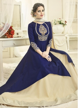 Embroidered Work Net Beige and Navy Blue Designer Kameez Style Lehenga