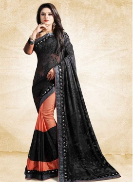 Embroidered Work Net Black and Salmon Half N Half Designer Saree