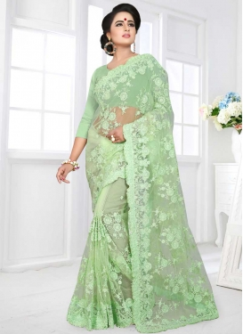 Embroidered Work Net Classic Saree For Bridal