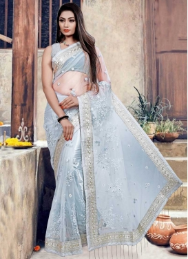 Embroidered Work Net Contemporary Style Saree